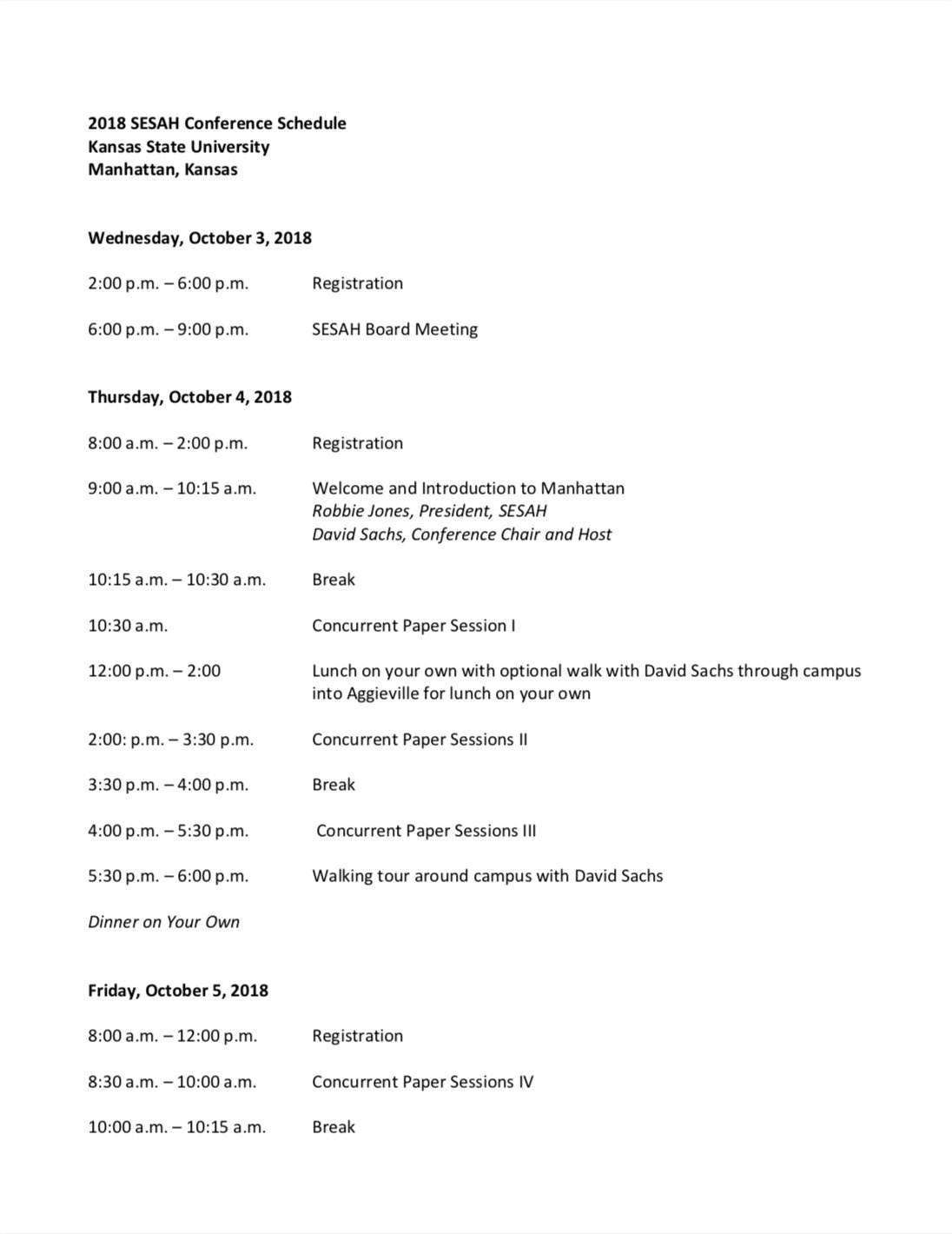 SESAH 2018 Annual Conference Preliminary Schedule