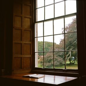 book on window sill